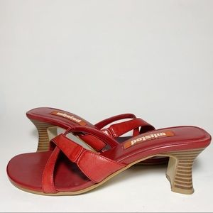 Red Square Toe Mules Backless High Heels 90s Style